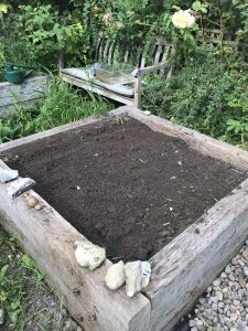 Vegetable bed filled with soil.